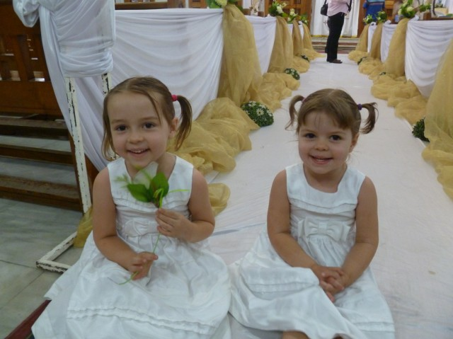 I had the girls sit down on the white aisle runner and snapped a few
