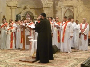 The praise segment of the evening went from 6pm to about midnight. Thereafter the prayer took a more Coptic feel, with traditional hymns lasting until 6am, followed by morning mass.
