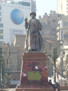 The celebrated statue of Omar Makram had a new round of graffiti.