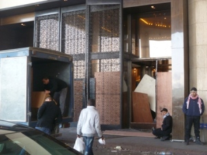 At one point during the fighting, armed criminals broke in to the Semiramsis Hotel, smashing this door. According to reports, protestors intervened and beat them off.
