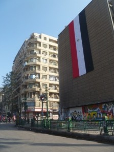 But at some point since my last visit a huge Egyptian flag had been draped on the side of this building. Perhaps it can be read as a sign of hope.