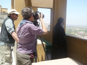 With professional photographers Norbert Schiller and Dana Smillie. Lining up a picture of a monk at Dronka Monastery, purported to be the southernmost extent of the Holy Family in Egypt.