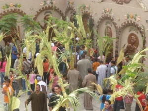 Concluding our trip was the celebration of Palm Sunday at the church in Saragna. Here, in defiance of the priest's decision to cancel the street parade, Coptic youth go out the gate as opposed to into the service. Please read that article for further context, but fortunately, no trouble occurred.