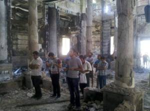 Copts Pray in Burned Church