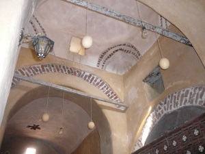 Four ostrich eggs hung from the church in St. Makarios Monastery in Wadi Natroun.