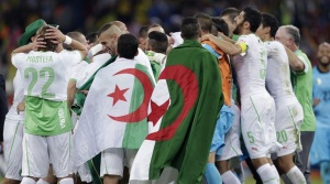 Algeria celebrates its World Cup victory over Russia.