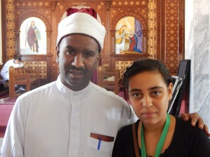 Ahmed Saber, with one of the younger relatives of the deceased.