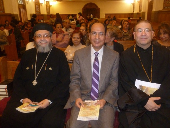 Fr. Bishouy of the Orthodox Church, Rev. Makram Naguib of the Heliopolis Evangelical Church (host), and Fr. Rafik Greish of the Catholic Church