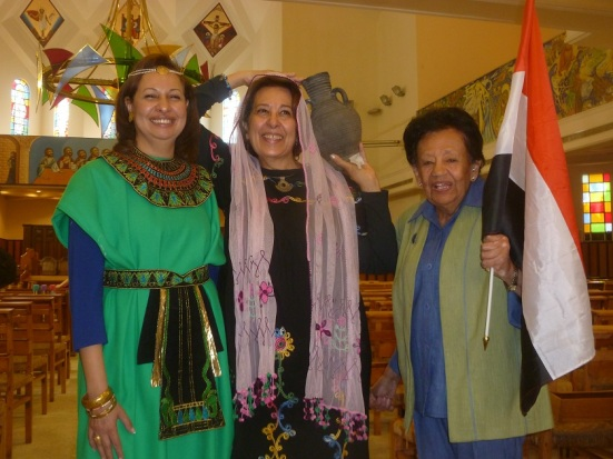 Three of the organizers led a presentation honoring Egyptian women throughout the ages