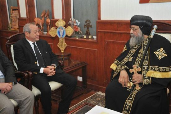 Also visiting the pope was prominent Coptic businessman Naguib Sawiris.
