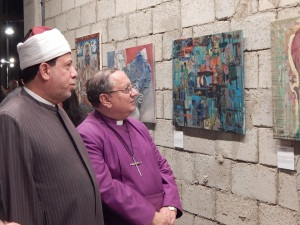 Sheikh Abdel Aziz of the Azhar and Bishop Mouneer of the Anglican Church, observing the CARAVAN artwork.