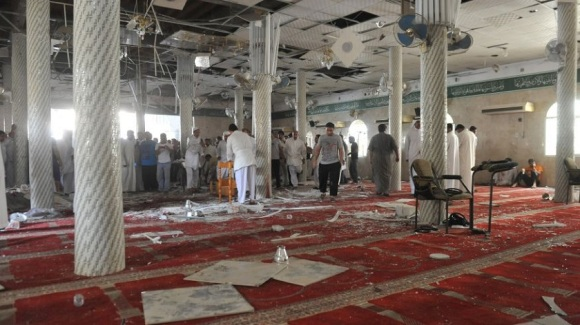 Damage in a Shia Mosque in Saudi Arabia after a terrorist attack by the Islamic State