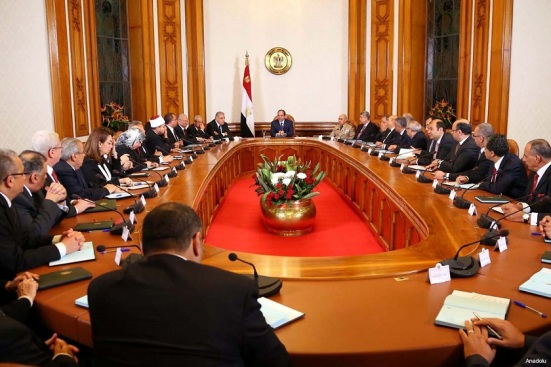President Sisi meeting with his first cabinet officials following election as president in June 2014