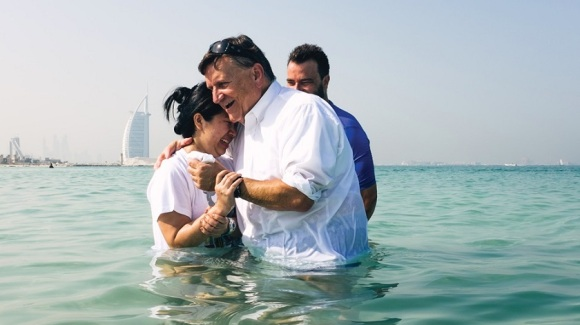 Public baptism service in the Gulf, in front of Dubai's Burj al-Arab. Photo courtesy of Fellowship of the Emirates.