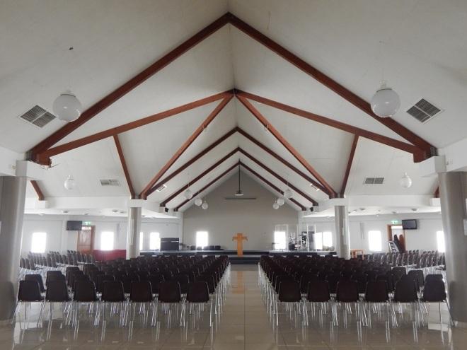 Worship Hall inside Dubai Evangelical Church Centre