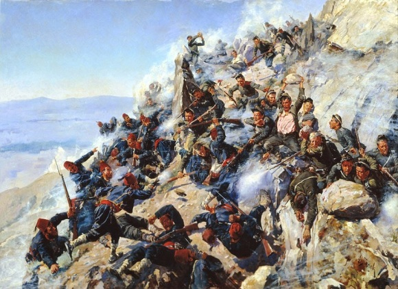 Artwork depicting the Bulgarian War of Independence, against the Turks