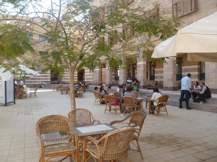The university provides plenty of open space to sit, relax, and mix -- also somewhat unusual between genders in Egypt