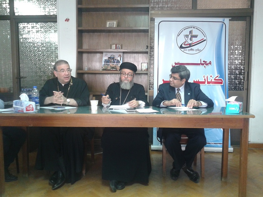 Father Rafic Greiche, a Catholic priest; Father Bishoy Helmy, an Orthodox priest; and Reverend Rifaat Fikry, a Protestant pastor speak at a meeting of Egypt Council of Churches.