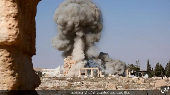 An image distributed by Islamic State militants on social media purports to show the destruction of a Roman-era temple in the ancient Syrian city of Palmyra