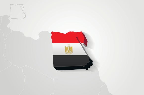 Egypt drawn on gray map.
